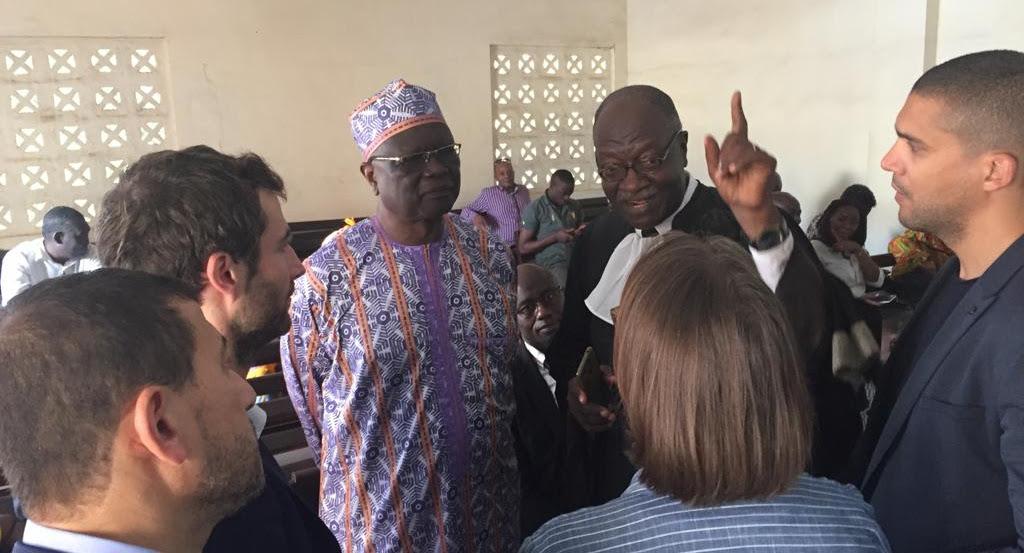 Amadou Vamoulké, l'ex-directeur général de la CRTV lors de la 24e audience de son procès devant le Tribunal criminel spécial de Yaoundé, le 21 novembre 2019.