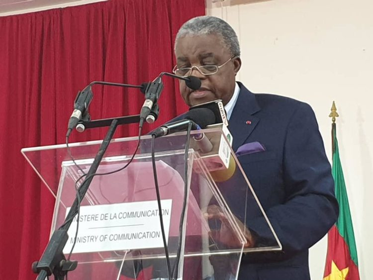 René Emmanuel Sadi,Ministre camerounais de la Communication,porte parole du gouvernement;lors du point de presse le dans la nuit du 27 au 28 fevrier 2020