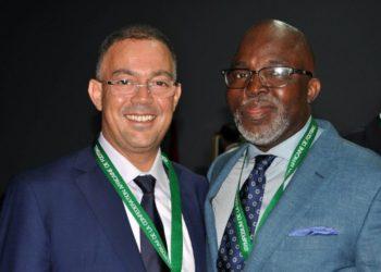 Le president de la Fédération royale marocaine de football (FRMF), Fouzi Lekjaa et le Président de la Fédération nigériane de football, Amaju Pinnick